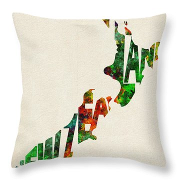 New Zealand Typographic Watercolor Map Throw Pillow