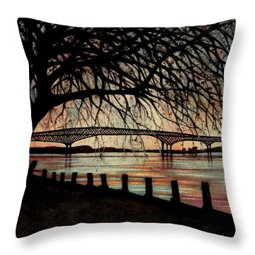 Newburgh Beacon Bridge Sunset Throw Pillow by Janine Riley