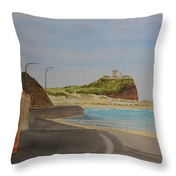 Throw Pillow featuring the painting Newcastle Nsw Australia by Tim Mullaney