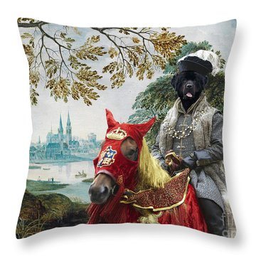 Newfoundland Art - Pasague With Duke Throw Pillow