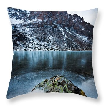 Frozen Mountain Lake Throw Pillow