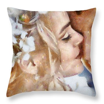 Throw Pillow featuring the painting Newlyweds by Georgi Dimitrov