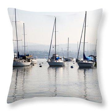 Newport Beach Bay Harbor California Throw Pillow by Paul Velgos