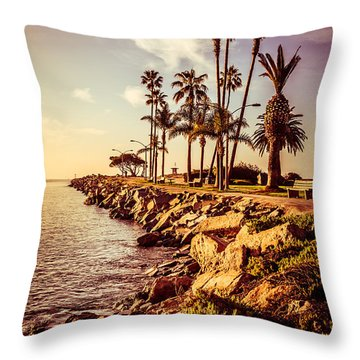 Newport Beach Jetty Vintage Filter Picture Throw Pillow by Paul Velgos