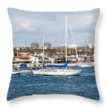 Newport Beach Panorama Throw Pillow by Paul Velgos