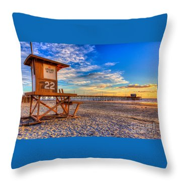 Newport Beach Pier - Wintertime  Throw Pillow