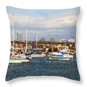 Newport Beach Skyline In Orange County California Throw Pillow by Paul Velgos