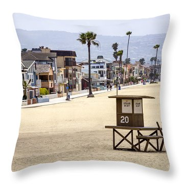 Newport Beach Waterfront Luxury Homes Throw Pillow by Paul Velgos