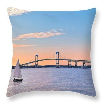 Newport Bridge Twilight Sunset With Sailboat Rhode Island Usa Throw Pillow