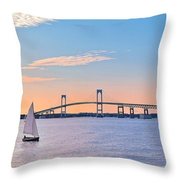 Newport Bridge Twilight Sunset With Sailboat Rhode Island Usa Throw Pillow