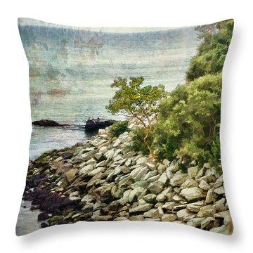 Newport Cliff Walk Throw Pillow