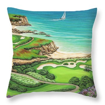 Throw Pillow featuring the painting Newport Coast by Jane Girardot