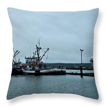 Newport Fishing Boats Throw Pillow