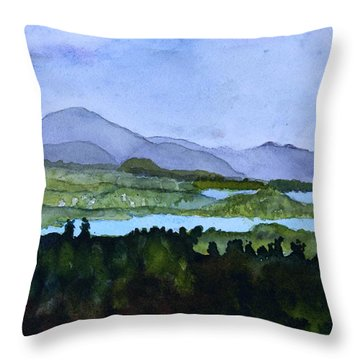 Throw Pillow featuring the painting Newport From Brownington Lookout by Donna Walsh