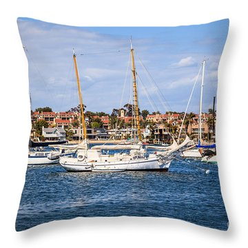 Newport Harbor Boats In Orange County California Throw Pillow by Paul Velgos