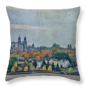 Newport In Autumn Throw Pillow by Deborah Benoit