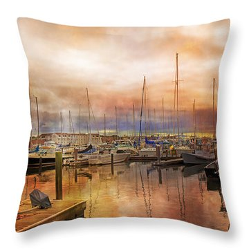 Newport Rhode Island Harbor I Throw Pillow