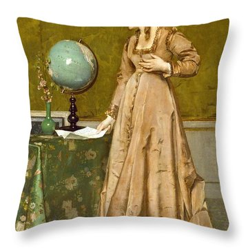 News From Afar Throw Pillow by Alfred Emile Stevens