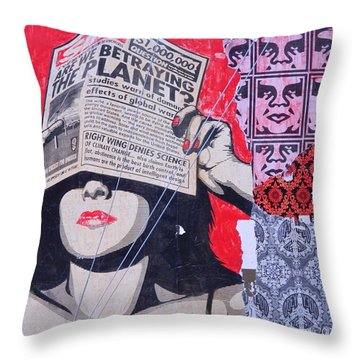 Throw Pillow featuring the photograph Shepard Fairey Graffiti Andre The Giant And His Posse Wall Mural by Kathy Barney