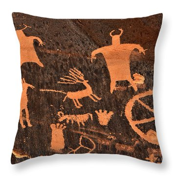 Newspaper Rock Close-up Throw Pillow