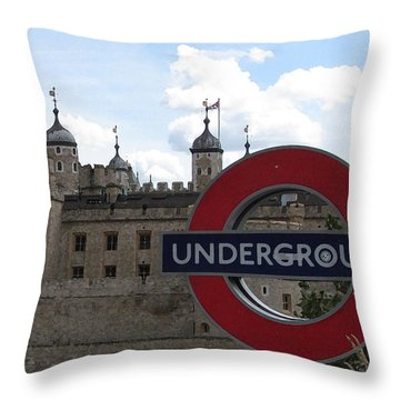 Next Stop Tower Of London Throw Pillow by Jenny Armitage