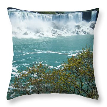 Niagara - American Falls In Spring Throw Pillow