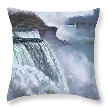 Niagara American Falls Throw Pillow by Ylli Haruni
