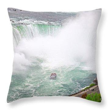 Niagara Horseshoe Falls Horn Blower Throw Pillow by Charline Xia