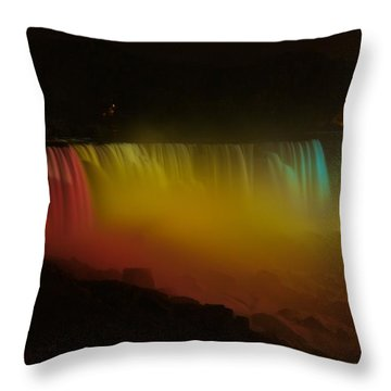 Throw Pillow featuring the photograph Niagara Falls A Glow by Dave Files