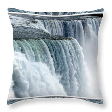 Throw Pillow featuring the photograph Niagara Falls American Side Closeup With Warp Frame by Rose Santuci-Sofranko