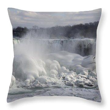 Niagara Falls Awesome Ice Buildup - American Falls New York State Usa Throw Pillow by Georgia Mizuleva