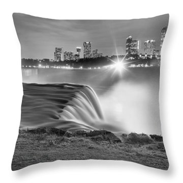 Niagara Falls Black And White Starbursts Throw Pillow