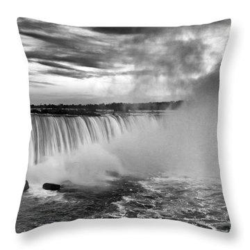 Niagara Falls Black White Throw Pillow
