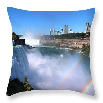 Niagara Falls Double Rainbow Throw Pillow