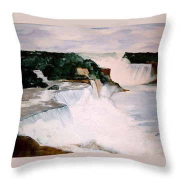 Niagara Falls Throw Pillow by Ellen Canfield