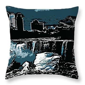 Niagara Falls Frozen At Night Throw Pillow by Miss Dawn