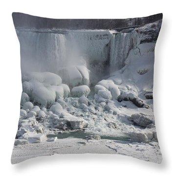 Niagara Falls Ice Buildup - American Falls New York State U S A Throw Pillow