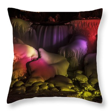 Niagara Falls Lightshow Throw Pillow