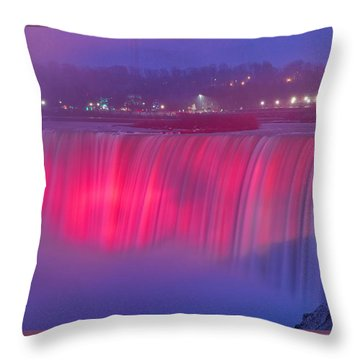 Niagara Falls Pretty In Pink Lights. Throw Pillow