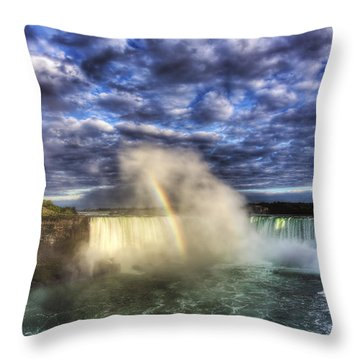 Niagara Falls Rainbow Throw Pillow