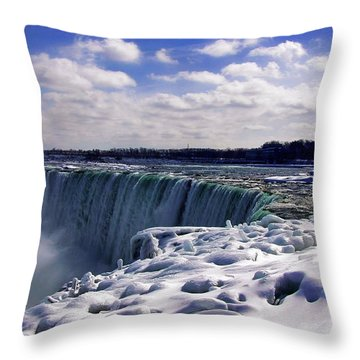 Niagara Falls Winter Throw Pillow