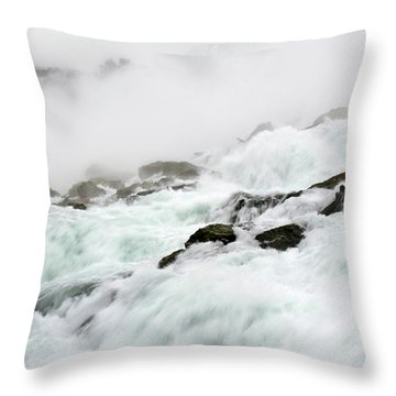 Niagara Falls With Observation Tower Behind Throw Pillow