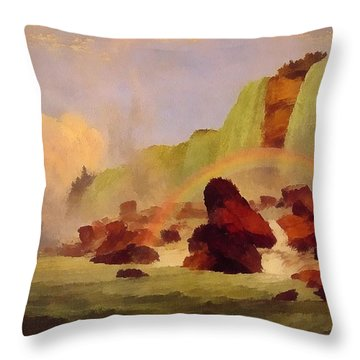 Niagara Falls With View Of Clifton House Throw Pillow by Jasper Francis