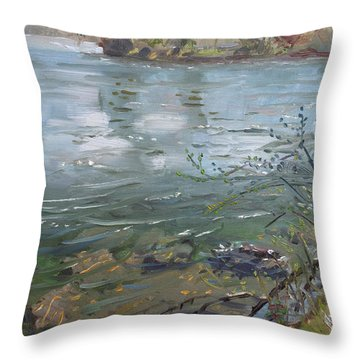 Niagara River Spring 2013 Throw Pillow by Ylli Haruni
