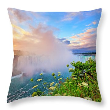 Niagara Falls Wildflowers At Sunrise Throw Pillow by Charline Xia