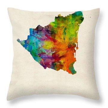 Nicaragua Watercolor Map Throw Pillow