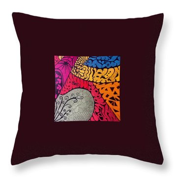Nice Colors In A Doodling Designs I Throw Pillow