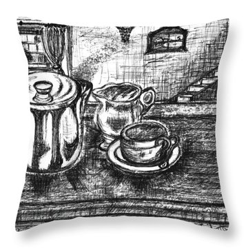 Throw Pillow featuring the drawing Nice Cup Of Tea by Teresa White