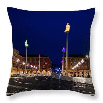 Nice France - Place Massena Blue Hour  Throw Pillow
