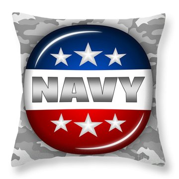 Nice Navy Shield 2 Throw Pillow by Pamela Johnson